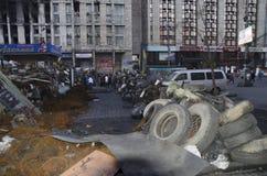 Barricada ucraniana de la revolución Foto de archivo libre de regalías