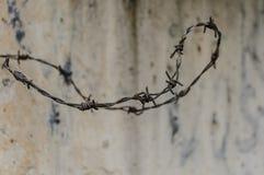 Barricadas en Vilna, Lituania, Europa Detalle del alambre de púas Fotos de archivo