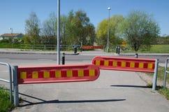 Barricadas por el borde de la carretera Fotografía de archivo