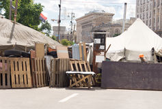 Barricade across a town street for a fair or race Stock Image
