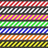Barricade banden De reeks banden voor waarschuwt of vangt de aandacht Banden die een mogelijk gevaar bevatten vector illustratie