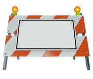 Barricade Barrier Construction Road Sign Blank Copy Space Royalty Free Stock Photo