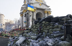 Barricade on Euromaidan near the Monument of Independence. In Kyiv stock photography