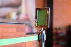 Barricade with green polyester. In coffee shop Royalty Free Stock Image