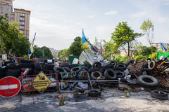 Barricade on the Instytutska str., Kyiv, Ukraine Stock Image