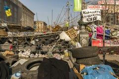 Barricade Kiev Maidan. Kiev, Ukraine - February 26, 2014: Barricade in Kiev on Maidan Square during the revolution Stock Images