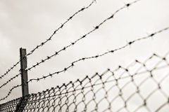 Barricade single steel wire at day Stock Images