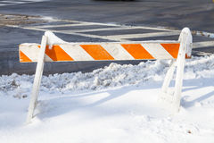 Barricade in the Snow Royalty Free Stock Photos