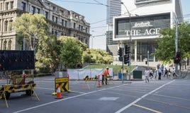 Barricade, Spencer Street, Melbourne, Australia. Royalty Free Stock Photography