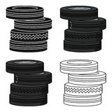 Barricade from tires icon in cartoon style isolated on white background. Paintball symbol stock vector illustration. Barricade from tires icon in cartoon design Royalty Free Stock Photography
