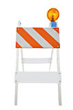 Barricade and Warning Light Closeup. On Isolated White Background stock photography
