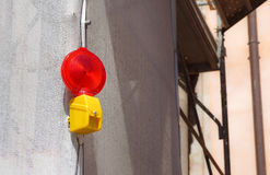 Barricade and Warning Light Closeup . Red street light for work Stock Images