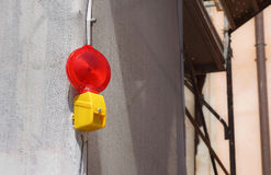 Barricade and Warning Light Closeup . Red street light for work Stock Photos