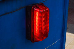 Barricade and Warning Light Closeup . traffic safety roadwork signs and light Stock Images