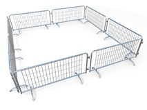 Barricaded square made of mobile steel fences 3D. Render illustration isolated on white background Royalty Free Stock Image