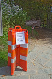 Barricades close the Appalachian Trail in Great Smoky Mountains Royalty Free Stock Photography