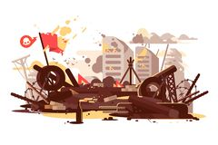 Barricades erected by the demonstrators vector illustration