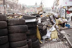 Barricades at Euromaidan in Kiev Royalty Free Stock Photo