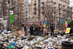 Barricades at Euromaidan in Kiev Royalty Free Stock Image