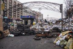 Barricades at Euromaidan in Kiev Stock Photos