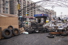Barricades at Euromaidan in Kiev Stock Photos