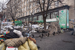 Barricades at Euromaidan in Kiev Stock Photography