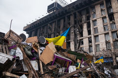 Barricades at Euromaidan in Kiev Stock Image
