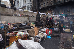 Barricades at Euromaidan in Kiev Royalty Free Stock Images