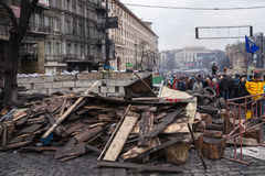 Barricades at Euromaidan in Kiev Royalty Free Stock Photos