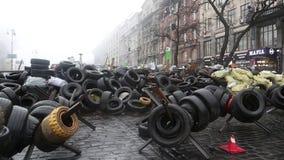 Barricades on the Khreshchatyk street in Kiev. UKRAINE, KIEV, MARCH 4, 2014: Political crisis. Barricades on the Khreshchatyk street - main street of Kiev stock footage