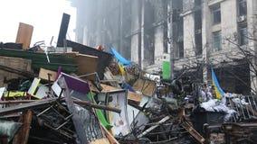 Barricades on the Khreshchatyk street - main street of Kiev, Ukraine stock video footage