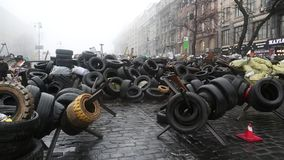 Barricades on the Khreshchatyk street - main street of Kiev, Ukraine stock video footage