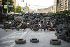 Barricades in Kiev. Royalty Free Stock Image