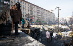 Barricades in Kiev Stock Photography