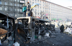 Barricades in Kiev Stock Images