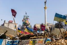 Barricades Maidan Kiev. Kiev, Ukraine - February 26, 2014:  Barricade in Kiev on Maidan Square during the revolution in the Ukraine Royalty Free Stock Photography