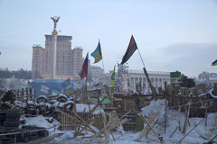 Barricades at Maidan Nezalezhnosti Stock Images