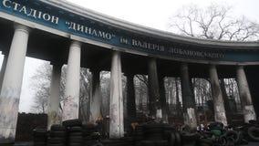 Barricades near Dinamo stadium on the Grushevskogo street in Kiev, Ukraine stock video