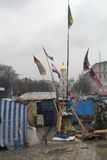 Barricades op Mihailovska-vierkant royalty-vrije stock foto
