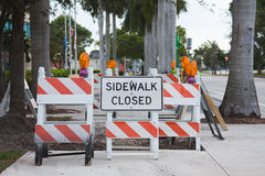 Barricades and sign Royalty Free Stock Photography