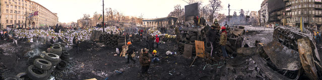 Barricades in the street Hrushevskoho Royalty Free Stock Photo