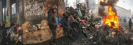 Barricades in the street Hrushevskoho Royalty Free Stock Image