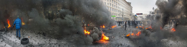 Barricades in the street Hrushevskoho Royalty Free Stock Images