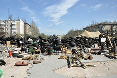 Barricades in the streets of Donetsk Stock Images