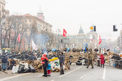Barricades in the streets of Kiev Royalty Free Stock Image
