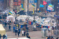 Barricades in the streets of Kiev Stock Photo