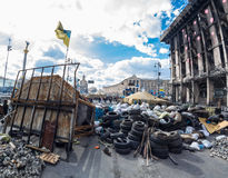 Barricades in the streets of Kiev Royalty Free Stock Photos