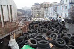 Barricades from tires in Kiev Stock Images