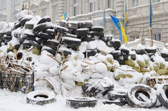 Barricades of tires in Ukraine Stock Images