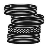 Barrichi dall'icona delle gomme nello stile nero isolata su fondo bianco Illustrazione di vettore delle azione di simbolo di pain Fotografia Stock